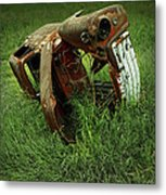 Steel Auto Carcass With Vultures Metal Print