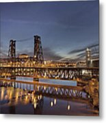 Steel Bridge Over Willamette River At Blue Hour Metal Print