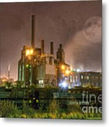 Steel Mill At Night Metal Print