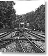 Steel Rail Intersections.   Point Of Rocks Md Metal Print