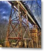 Steel Strong Rr Bridge Over The Yellow River Metal Print