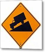 Steep Grade Hill Ahead Warning Road Sign On White Metal Print