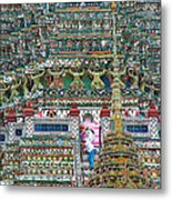 Steep Stairs Lead To Higher Level Of Temple Of The Dawn-wat Arun In Bangkok-thailand Metal Print