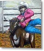 Steer Wrestling Original For Sale Metal Print