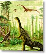Stegosaurus And Compsognathus Dinosaurs Metal Print
