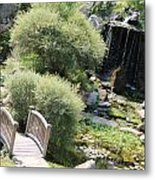 Stepping Stones And Water Fall Metal Print