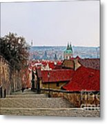Steps Of Prague Metal Print