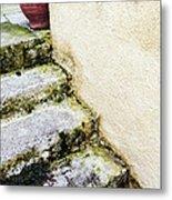 Steps Wall And Vase Metal Print