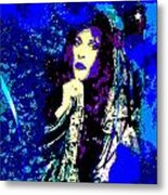 Stevie Nicks In Blue Metal Print