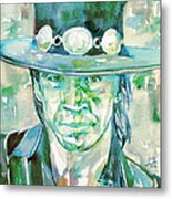 Stevie Ray Vaughan- Watercolor Portrait Metal Print