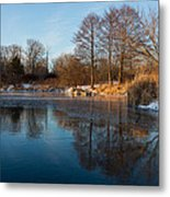 Still And Early - Icy Reflections With A Touch Of Snow Metal Print