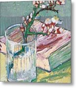 Still Life    A Flowering Almond Branch Metal Print by Vincent Van Gogh