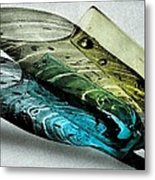 Still Life And Shadows In Blue And Gold Metal Print