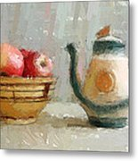 Still Life Apples And Tea Pot Metal Print by Yury Malkov