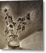 Still Life Ceramic Pitcher With Three Sunflowers Metal Print