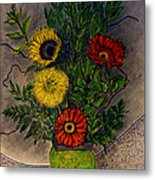 Still Life Ceramic Vase With Two Gerbera Daisy And Two Sunflowers Metal Print