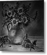 Still Life Clay Pitcher With 13 Daisies Metal Print