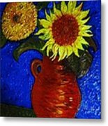 Still Life Clay Vase With Two Sunflowers Metal Print