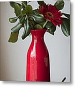 Still Life Flower Study In Red Metal Print