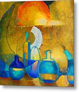Still Life In Ocher And Blue Metal Print