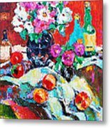 Still Life In Studio With Blue Bottle Metal Print