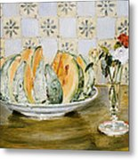 Still Life Of A Melon And A Vase Of Flowers Metal Print