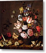 Still Life Of A Vase Of Flowers Metal Print