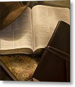 Still Life Of Bible With Hat And Journal Metal Print