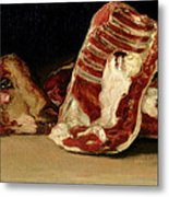 Still Life Of Sheep's Ribs And Head Metal Print by Francisco Jose de Goya y Lucientes