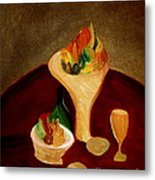 Still Life On A Red Table Metal Print