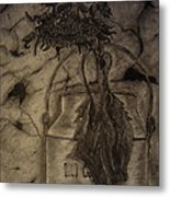 Still Life One Dried Sunflower In Metal Jug Metal Print