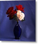 Still Life Red White And Blue Metal Print