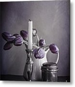 Still Life Study In Purple Metal Print by Terry Rowe