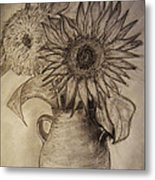 Still Life Two Sunflowers In A Clay Vase Metal Print