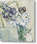 Still Life Vase Of Carnations Metal Print
