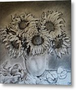 Still Life - Vase With 6 Sunflowers Metal Print