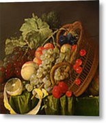 Still Life With A Basket Of Fruit Metal Print