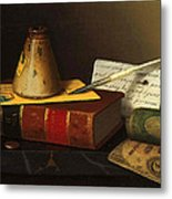 Still Life With A Writing Table Metal Print