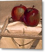 Still Life With Apples In An Old Frame Metal Print