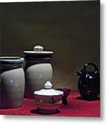 Still Life With Blue Pitcher Metal Print by Larry Olsson