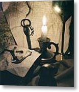Still Life With Bones Rusty Key Wine Glass Lit Candle And Papers Metal Print