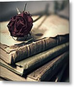 Still Life With Books And Dry Red Rose Metal Print