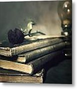 Still Life With Books And Roses Metal Print