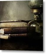 Still Life With Books And The Lamp Metal Print