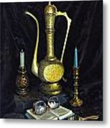 Still Life With Brass Vase And Book Metal Print