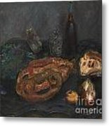 Still Life With Bread And Onions Metal Print