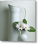 Still Life With Daisy Flowers Metal Print by Krasimir Tolev