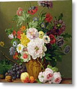 Still Life With Flowers And Fruit Metal Print by Anthony Obermann