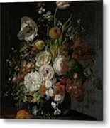 Still Life With Flowers In Glass Vase Metal Print