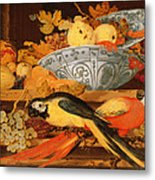 Still Life With Fruit And Macaws, 1622 Metal Print